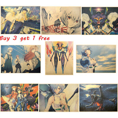 Japan Anime Neon Genesis Evangelion Eva Asuka Posters Kraft Decorative Painting