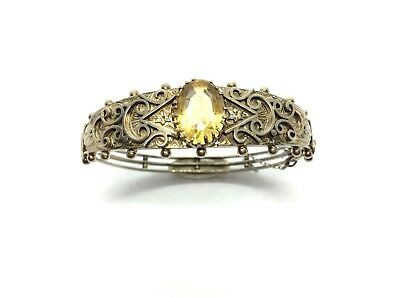Antique Victorian Aesthetic Sterling Silver Faceted Citrine Stone Bangle Bracele