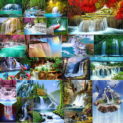 Waterfall Full Drill 5D DIY Diamond Painting Cross Home Wall Decor+Diamond Tool