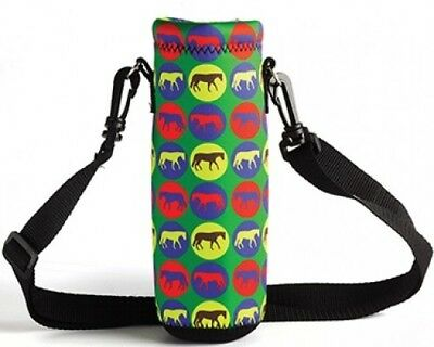 Horse Print Neoprene Water Bottle Holder / Drink Bottle Carrier / Multi Coloured