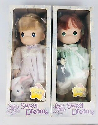 1999 Precious Moments Doll Collection Sweet Dreams Sadie Josie Set In Box