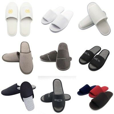 1 Pair Towelling Open/Closed Toe Hotel Slippers Spa Shoes Disposable Multi-color