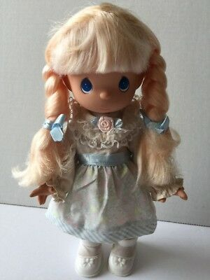 "Precious Moments Blonde Vinyl Doll 10"" With Braids Beaded Hair"