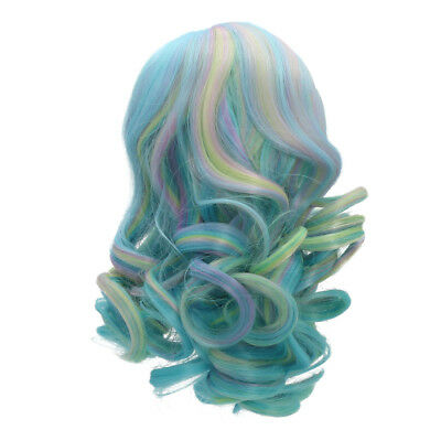 Colorful Wavy Curly Hair Wig for 18inch American Doll DIY Making Accessory