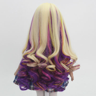 Golden Purple Curly Hair Wig for 18inch American Doll DIY Making Accessory