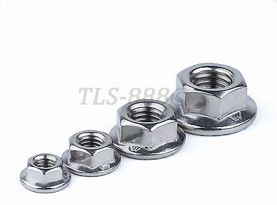A2 304 Stainless Serrated Flange Lock Nuts to Fit Bolt&Screw M3,4,5,6,8,10,12,16