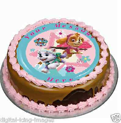 Paw Patrol, Everest, Skye, Cake topper edible image icing party REAL FONDANT 652