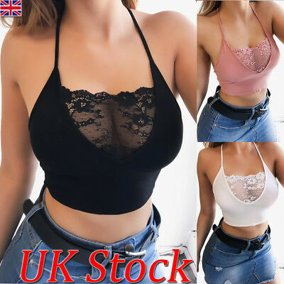 UK Womens Sexy Crop Tops Ladies Casual Lace Spaghetti Strap Vest Gym Tank Tee