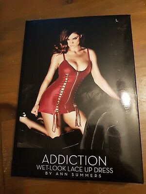 Addiction Wet Look Lace up Dress by Ann Summers
