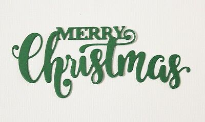 6 x Red & Green Merry Christmas Die Cuts Card Making Toppers Scrapbooking Words