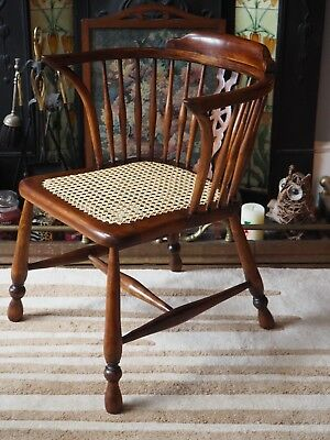 Cow Horn Windsor Chair Rattan Caned Retro Vintage Armchair Desk Captains Library