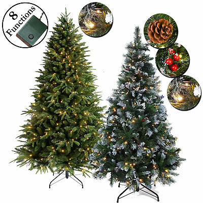Luxury Green Artificial Pre-Lit Christmas Trees White Multi Leds Frosted Tips