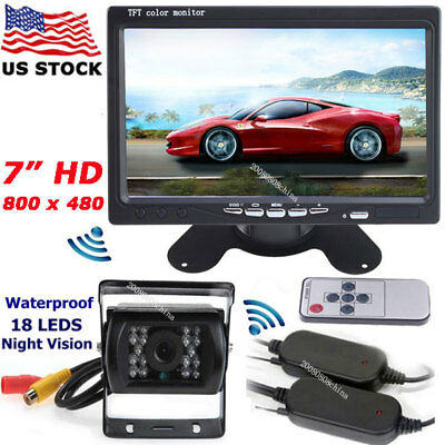 """7"""" TFT LCD Vehicle Rear View Monitor +Wireless IR Backup Camera for RV Truck BUS"""