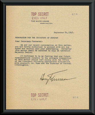1947 Majestic 12 Harry S Truman Exec UFO Order Reprint On 70 Year Old Paper *103