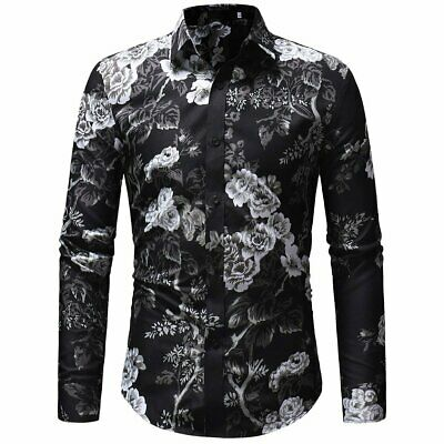 Trendy Men's Luxury Slim Fit Floral Shirt Long Sleeve Dress Shirts Casual Tops