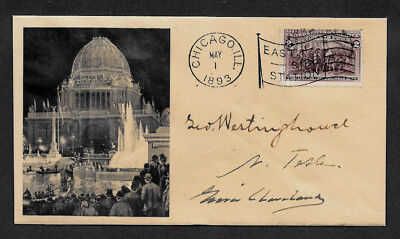 Nikola Tesla collector envelope w original period stamp 124 years old *OP1210