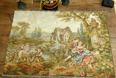 Antique FRENCH CHATEAU Large Wall Hanging Tapestry decor PRE 1930s