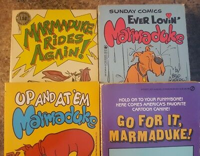 MARMADUKE Lot of 4 PB Books, Sunday Comic's by Brad Anderson. Great Dane Dog