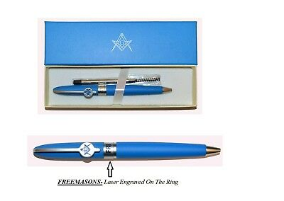 Freemason Emblem Blue Ballpoint Pen - Twist Action Refillable - Masonic Gift