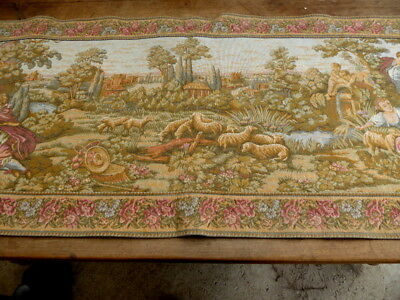Antique FRENCH CHATEAU Large Wall Hanging Tapestry deco 1920s goblys