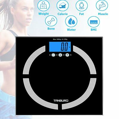 440LB 180KG Digital LCD Glass BMI Fitness Bathroom Weight Body Weighting Scale