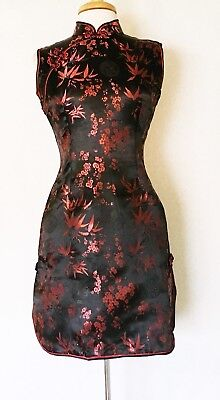 Short Sleeve Chinese Cheongsam Qipao Dress Black with dark red bamboo and plum