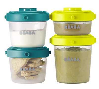 BEABA Clip Containers Set of 6, 2oz & 4 oz for snacks baby food Peacock Neon M19