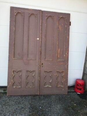 MAR 245 Match Pair antique Gothic Double Doors carved 68 x 94.75 x 2""