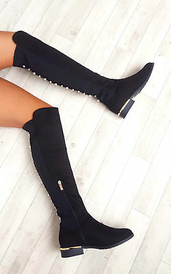 Ladies Womens Cleo Faux Suede Studded Flat Knee High Boots Winter Shoes Size 3-8