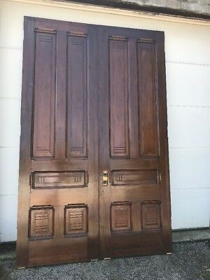 MAR247 match Pair antique all walnut Double Doors 6' x 112.75 x 2.25 Thick