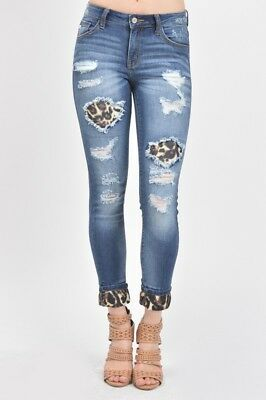 NWT Women's KanCan Distressed Skinny Ankle Jeans Leopard Patchwork