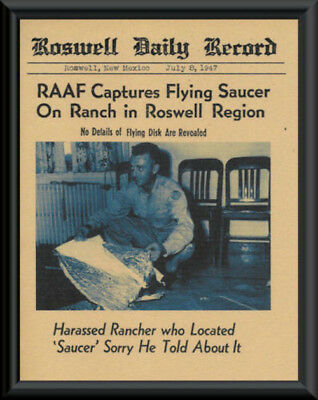 1947 Roswell UFO Crash Fantasy Newspaper Cover On 70 Year Old Paper Alien *P022