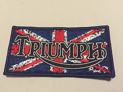 Triumph motorcycle union jack patent plate -embroidered iron-on.