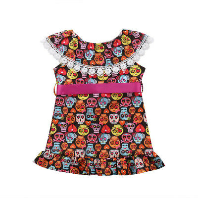 S-155 Girl Toddler Colorful Skull Dress Halloween Size 1-4T (Free Shipping)