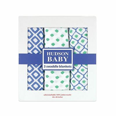 Hudson Baby Muslin Swaddle Blankets, Blue, 3 Count