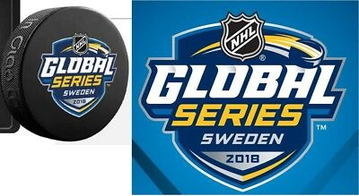 2018 Nhl Global Series Hockey Logo Puck Sweden Oilers Vs. Devils With Sticker