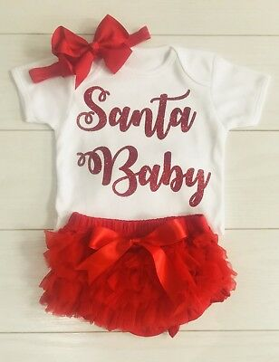 Girls My 1st Christmas Santa Baby Outfit Tutu Knickers Vest & Bow Photo Shoot