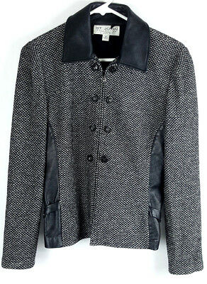 St. John Collection Marie Gray Womens Black Sz 8 Knitted Full Zip Blazer Jacket