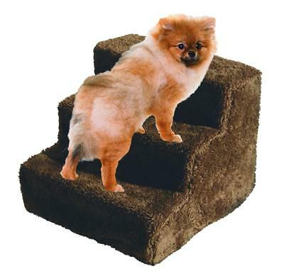 3 Step Pet Dog Stairs arthritis hip Fleece Covered Removable Washable Brown