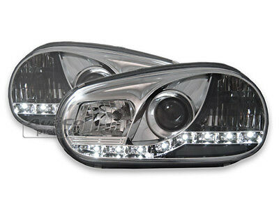 jogo Faros Optica LED diurnas para VW GOLF 4 SONAR IV 1997-2003 Luz do Dia Chrom