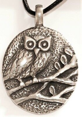Solid Pewter Owl Pendant - Native American