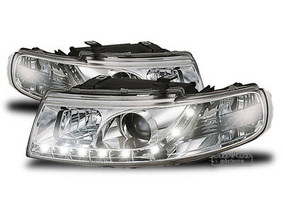jogo Faros Optica LED diurnas TOLEDO Seat Leon 1M Luz do Dia 1999-2004 Chrome ES
