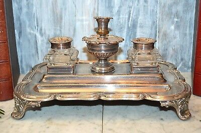 Antique Victorian Sheffield Silver Plate Dual Inkwell Footed Stand Candle Holder