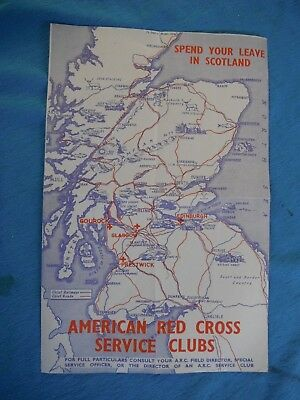 American Red Cross  Service Clubs guide and map of Scotland