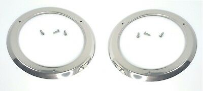 """(2) 4"""" Round Stainless Steel Tail Light Bezels LED Brake Stop Turn Lamps"""