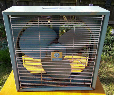 Vintage GE 3 Speed Box Fan blue metal blades General Electric Retro Works