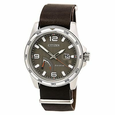 Citizen AW7039-01H Men's PRT Eco-Drive Taupe Dial Dark Brown Leather Strap Power