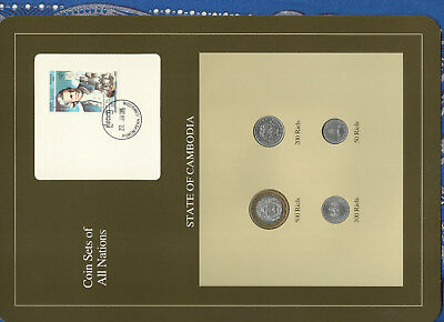 Coin Sets of All Nations Cambodia 500,200,100,50 Riels 1994 UNC James Cook Stamp