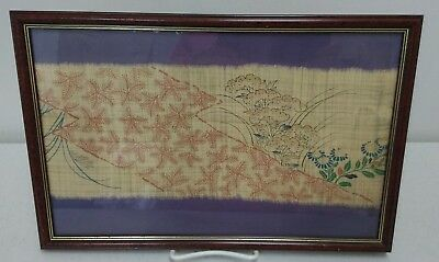 Antique Japanese Chinese Silk Textile Fabric Kasuri Sarasa Framed Art #1
