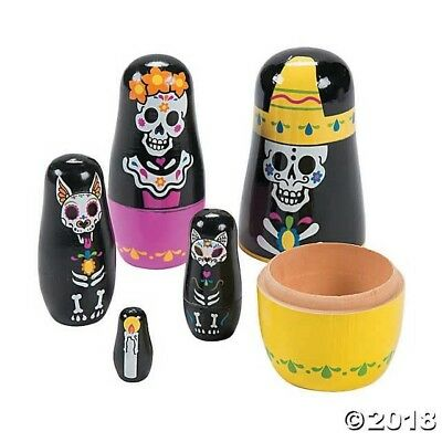 Day of the Dead NESTING DOLLS sugar skull Party Dia Muertos HALLOWEEN TOY